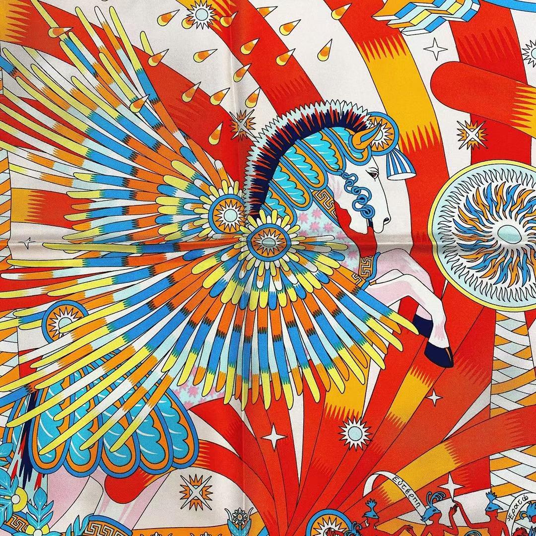 Hermès(爱马仕)2021 夏季新款丝巾《飞马之源》粉色