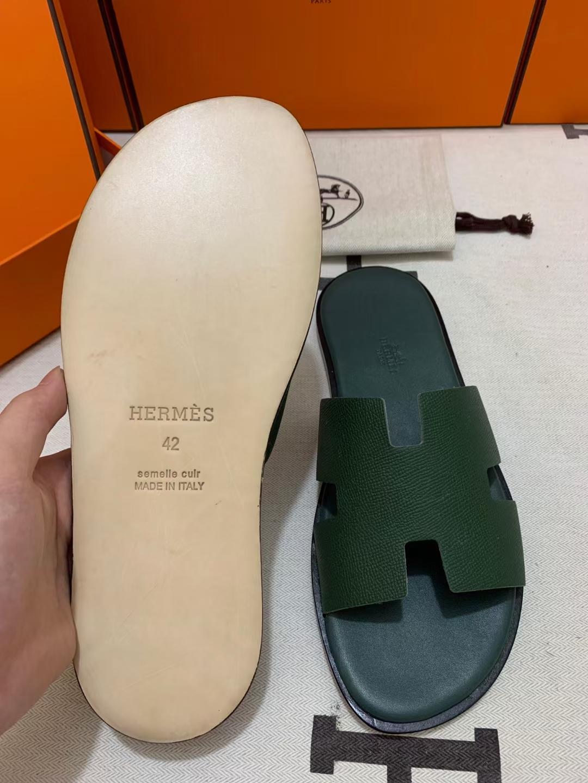 Hermès(爱马仕)新款 男拖 epsom 英国绿 黑底