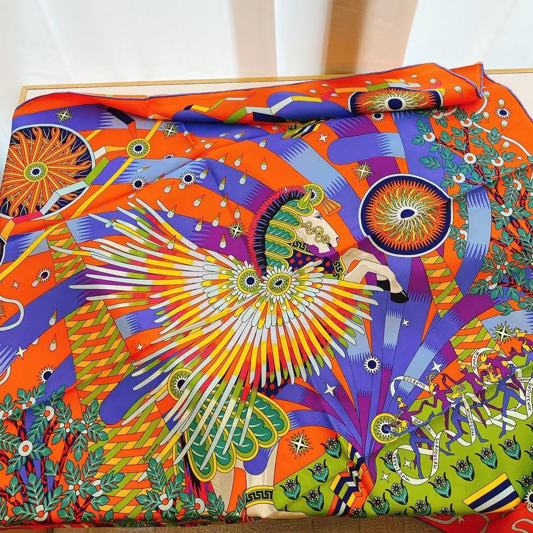 Hermès(爱马仕)2021 夏季新款丝巾《飞马之源》橙色