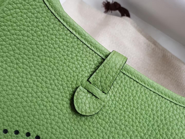 Hermès(爱马仕)mini Evelyne 迷你伊芙琳 tc牛皮 牛油果绿 银扣 16cm