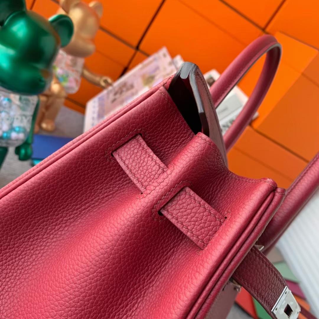Hermès(爱马仕)Birkin 铂金包 石榴红 原厂御用顶级小牛皮 银扣 30cm 现货