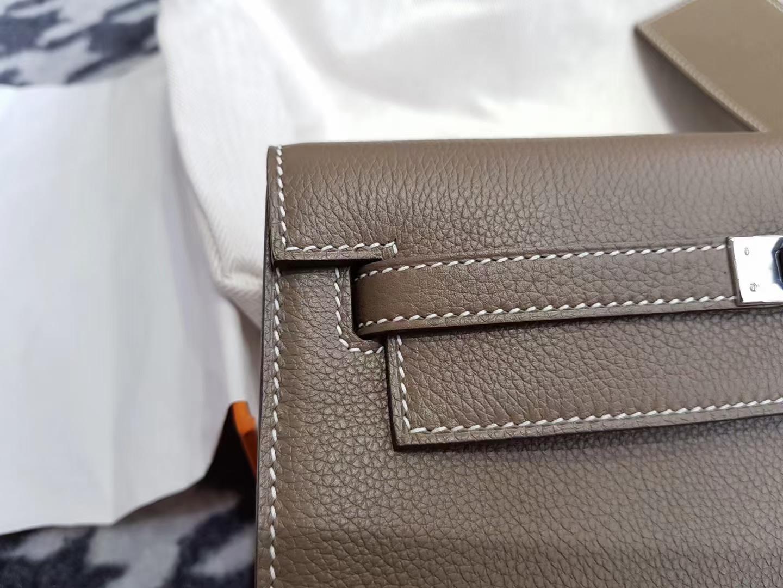 Hermès(爱马仕)Kelly danse 跳舞包 Evecolor cc18 Etoupe 大象灰 银扣 22cm