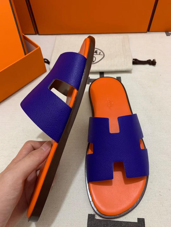 Hermès(爱马仕)新款 男拖 epsom 电光蓝 橙色垫咖底