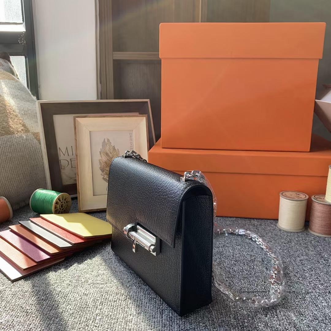 Hermès(爱马仕)Verrou 插销包 CK89 黑色 原厂御用顶级山羊皮 现货