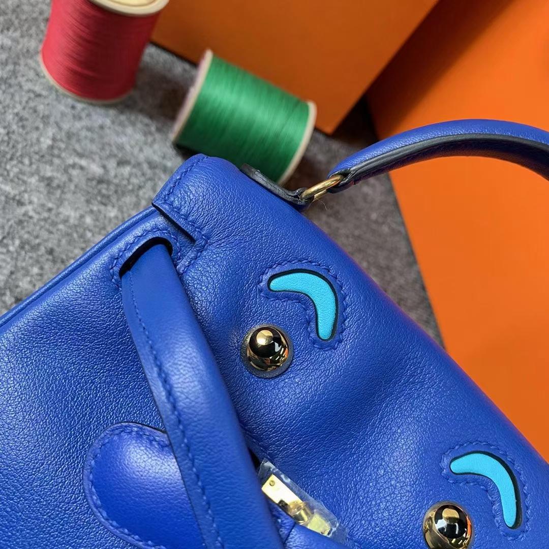 Hermès(爱马仕)Kelly doll 电光蓝拼北方蓝 原厂御用顶级Swift 皮 银扣 现货