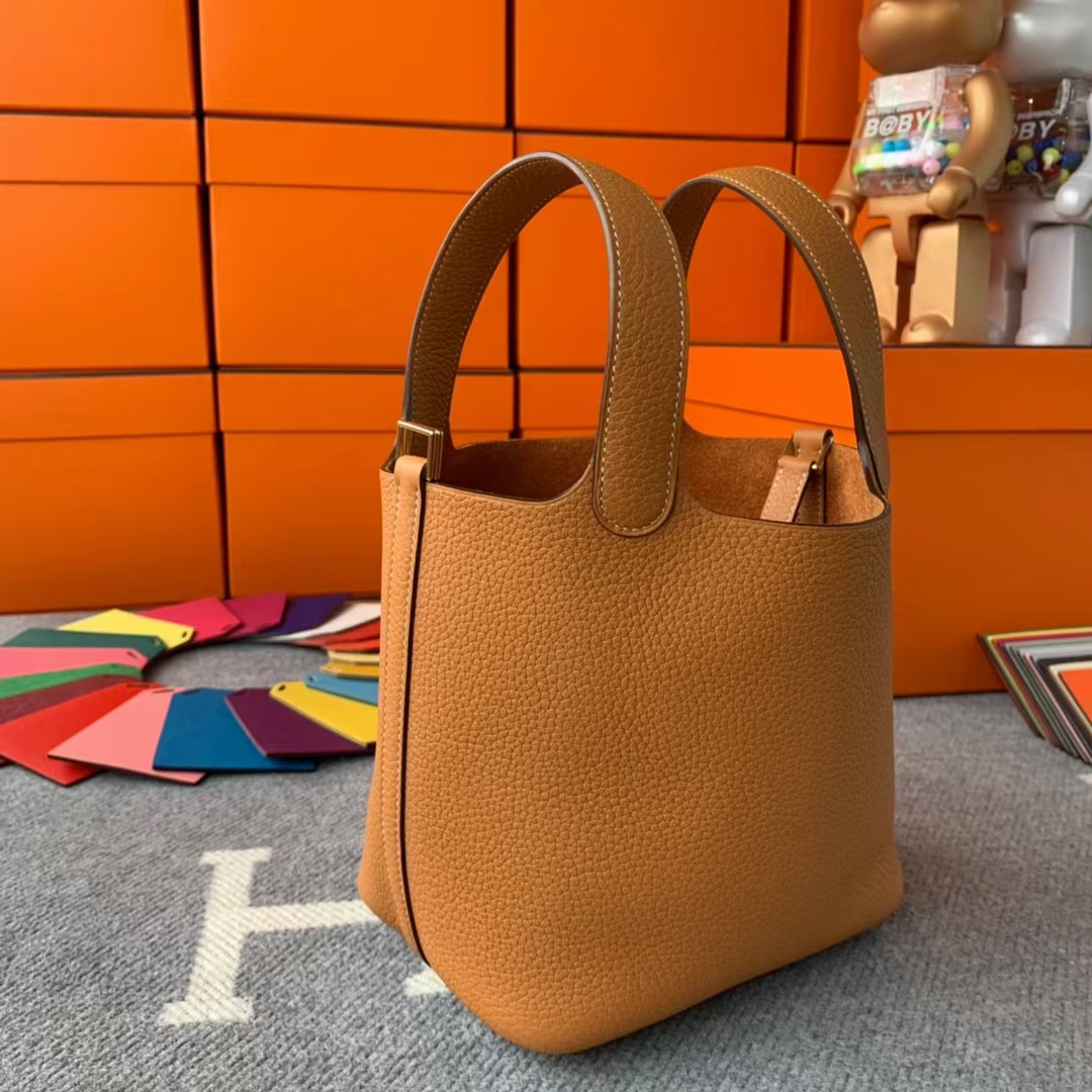 Hermès(爱马仕)Picotin Lock 菜篮子 太妃金 原厂御用顶级TC皮 金扣 18cm