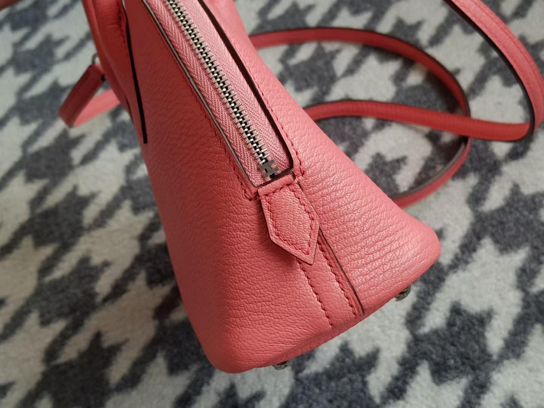 Hermès(爱马仕)Bolide 1923 保龄球包 mini 山羊皮 K4 Rose Dete 夏日粉 银扣