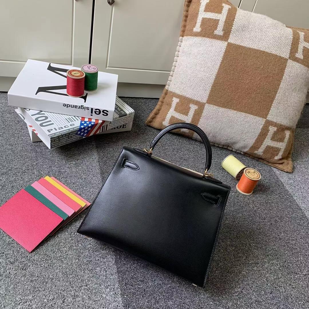 Hermès(爱马仕)Kelly 凯莉包 CK89 黑色 原厂御用顶级Box 皮 25 外缝 金扣 现货