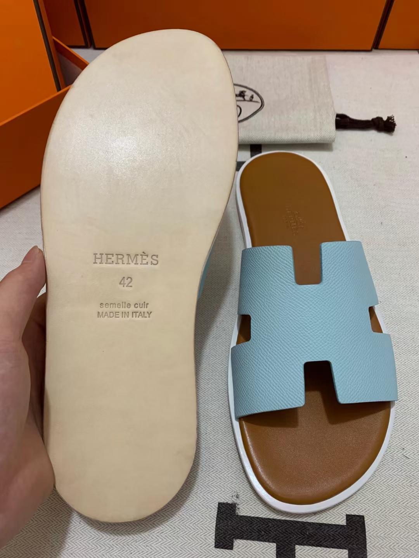 Hermès(爱马仕)新款 男拖 epsom 微风蓝 浅棕垫白底