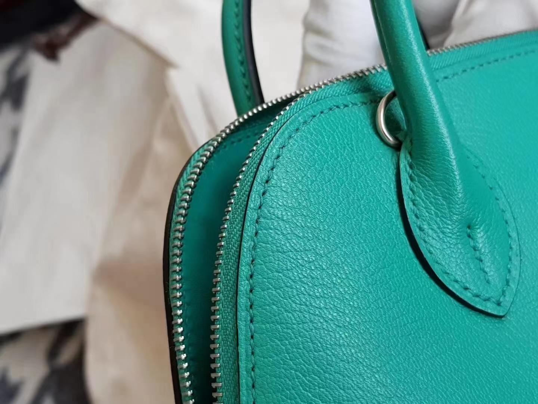 Hermès(爱马仕)Bolide 1923 保龄球包 mini evecolor U1 维罗纳绿色 银扣