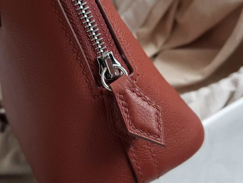 Hermès(爱马仕)Bolide 1923 保龄球包 mini eve 小牛皮 4E 枫叶棕 银扣