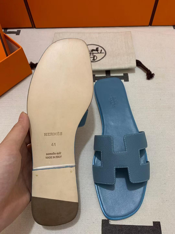 Hermès(爱马仕)新款 女拖 epsom 牛仔蓝 全包垫同色底