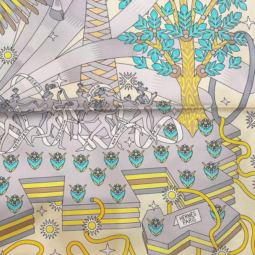 Hermès(爱马仕)2021 夏季新款丝巾《飞马之源》黄色