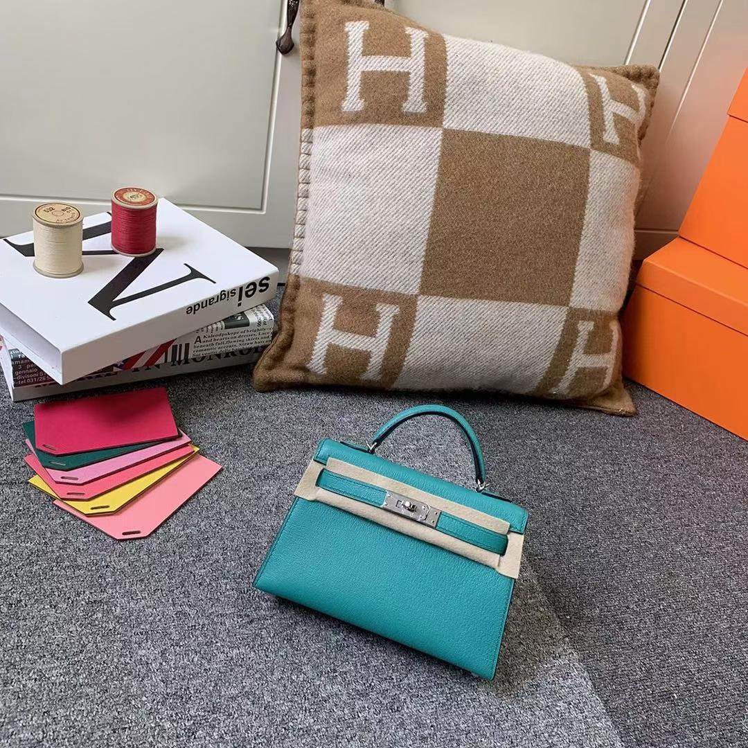 Hermès(爱马仕)Mini Kelly 迷你凯莉 U1 罗威纳绿 原厂御用顶级山羊皮 银扣 二代