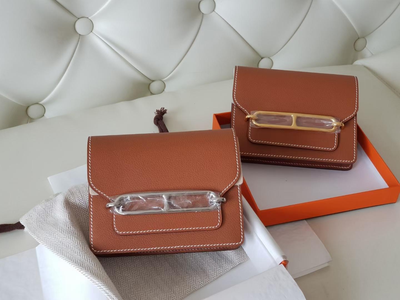 Hermès(爱马仕)Roulis 猪鼻包 康康slim eve牛皮 金棕色 银扣 19cm