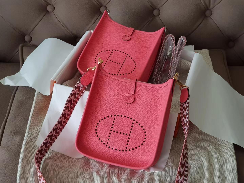 Hermès(爱马仕)mini Evelyne 迷你 伊芙琳 tc牛皮 8w 新唇膏粉色+编织肩带 16cm