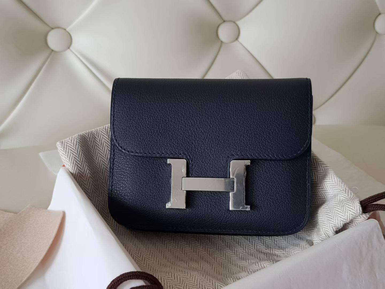Hermès(爱马仕)Constance 康康 腰包 slim eve牛皮 午夜蓝 银扣 19cm