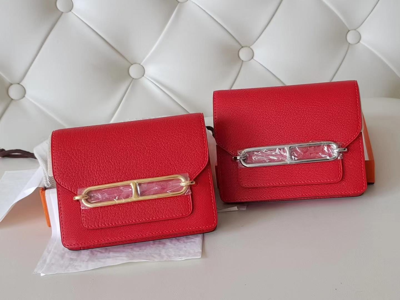 Hermès(爱马仕)Roulis 猪鼻包 康康slim 腰包 山羊皮 s3 心红色 银扣 19cm
