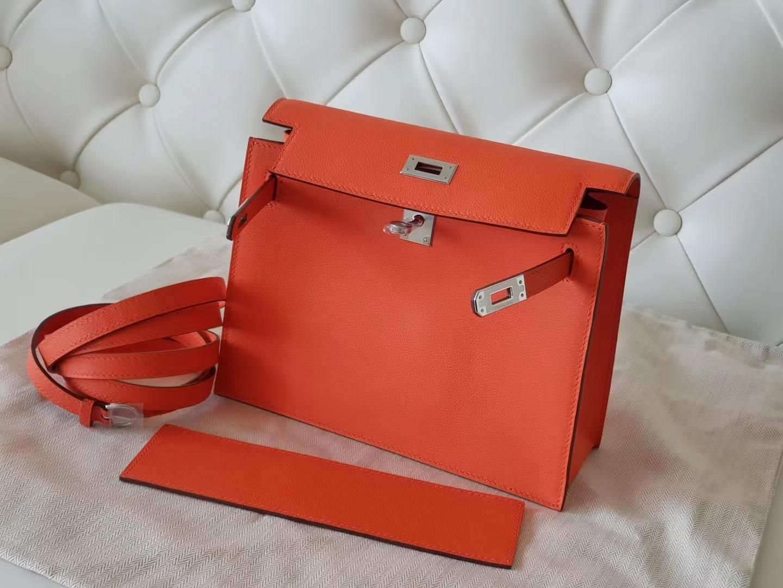 Hermès(爱马仕)Kelly danse 跳舞包 Evercolor皮 罂粟橙色 银扣