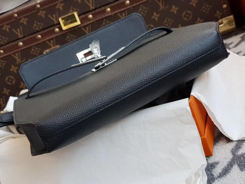 Hermès(爱马仕)kelly depeches 公文包 Epsom皮 ck89 黑色 银扣