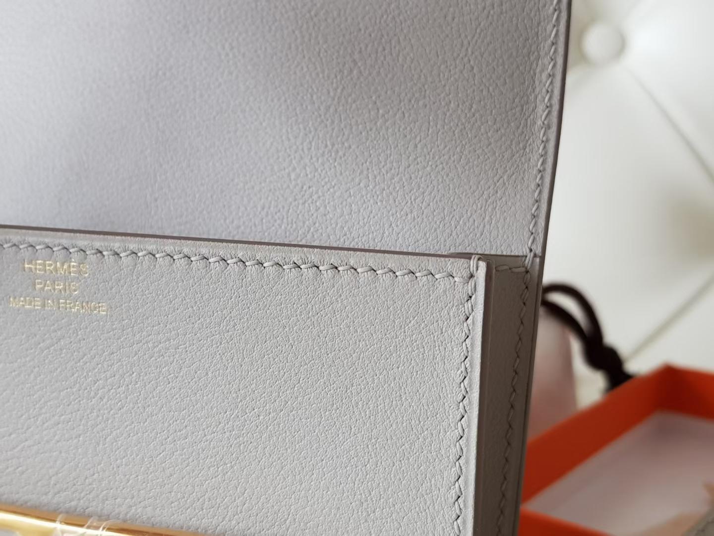 Hermès(爱马仕)Roulis 猪鼻包 康康slim eve牛皮 珍珠灰 金扣 19cm