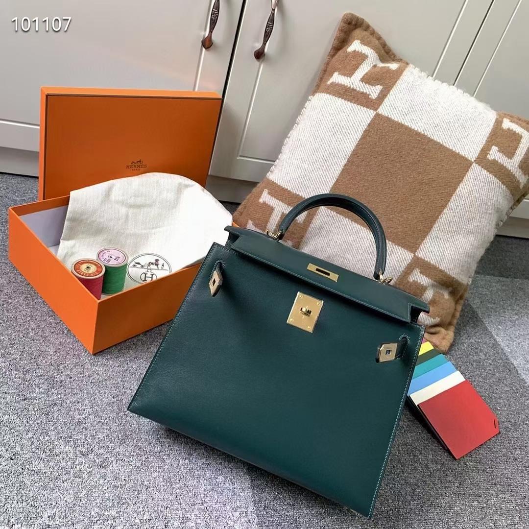 Hermès(爱马仕)Kelly 凯莉包 BOX皮 英国绿 金扣 28cm